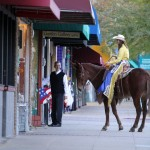 Mulerider greeting people on the streets