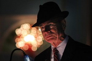 Dr. Rankin is active in campus events all year. Above, he is pictured speaking during the annual Celebration of Lights.