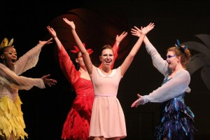 """Laney Walthall, center, leads a rendition of """"Amazing Gertrude"""" during a dress rehearsal of Seussical the Musical at Southern Arkansas University. Walthall is a recent graduate of Columbia Christian School in Magnolia. Pictured from left are Ehvan Shaw, Maggie Rubben, Walthall and Erica Storm Barnett."""