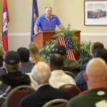 Louis Roy, a veteran of the U.S. Marine Corp., speaks at the November 11 Veterans Day program at SAU's Grand Hall.