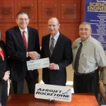 GenCorp Foundation, the philanthropic arm of GenCorp and its subsidiary company Aerojet Rocketdyne of Camden, recently gave $40,000 to SAU's Engineering program. Pictured, from left, are Aerojet Rocketdyne representatives Gary Vaughan, executive director of Camden operations, Connie Wilbur, human resources manager, and Rob Shenton, vice president of solid propulsion operations; from SAU, President Dr. David Rankin, Dean of the College of Science and Engineering Dr. Scott McKay, Director of the SAU Foundation Jeanie Bismark and Assistant Vice President for Development Josh Kee.